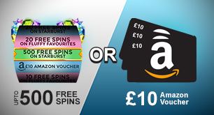 123 Spins: Up to 500 Free Spins or £10 Amazon Voucher